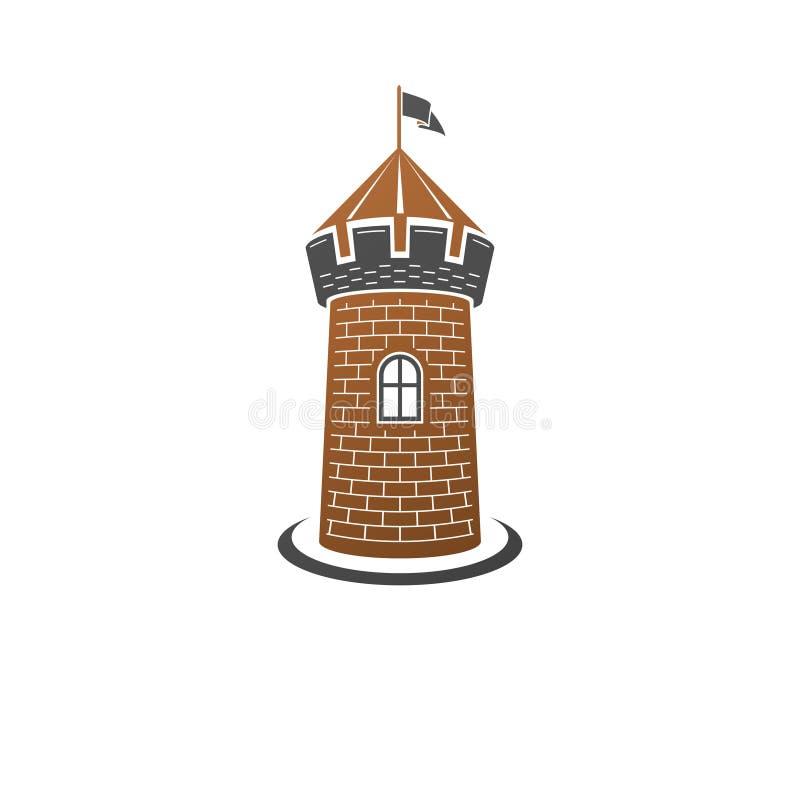 Ejemplo aislado decorativo del vector de la torre medieval Antiguo ilustración del vector