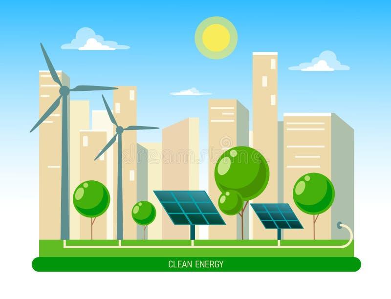 Ejemplo aislado del vector de la energía eléctrica limpia de las fuentes renovables sol y viento Edificios de la estación de la c ilustración del vector
