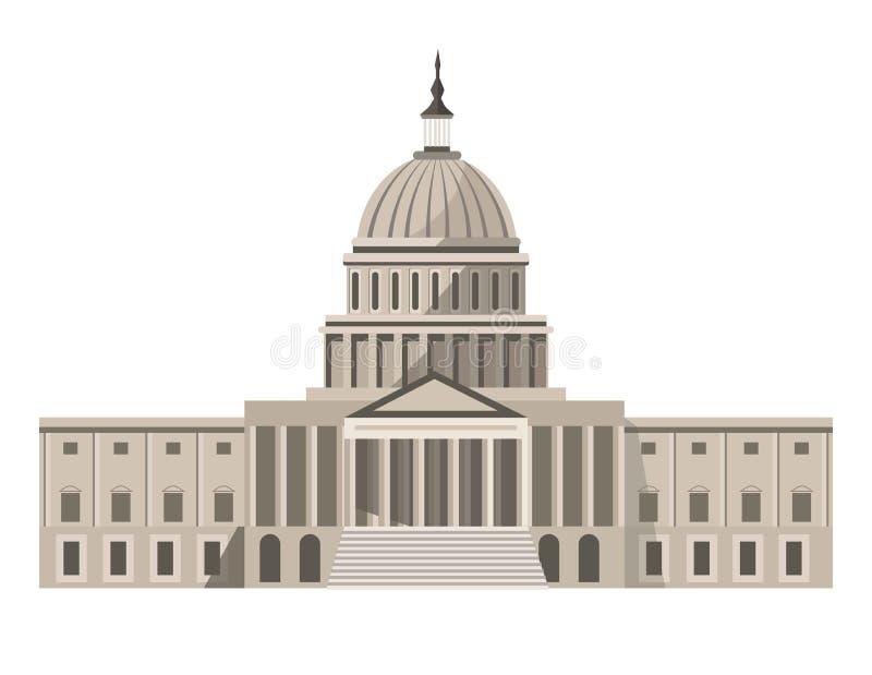 Ejemplo aislado edificio famoso de la historieta del capitolio de Estados Unidos stock de ilustración