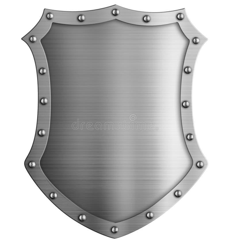 Ejemplo aislado escudo alto medieval 3d del metal stock de ilustración