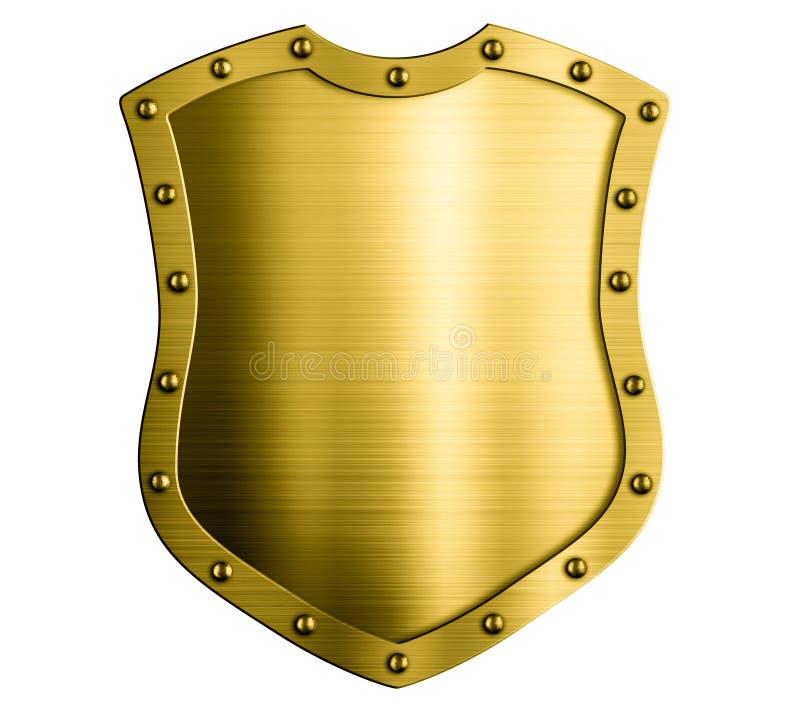 Ejemplo aislado escudo medieval 3d del oro del metal libre illustration