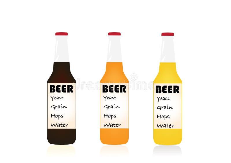 Ejemplo aislado fijado del vector de las botellas de cerveza imagenes de archivo