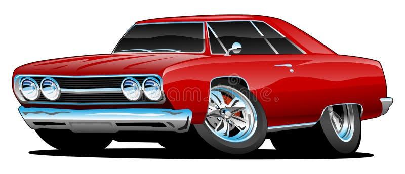Ejemplo aislado historieta clásica del vector del coche del músculo ilustración del vector
