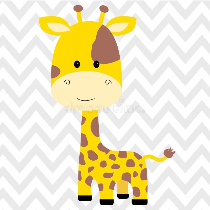 Ejemplo aislado jirafa linda del vector ilustración del vector