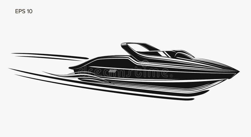 Ejemplo aislado lancha de carreras del vector Barco de lujo y costoso ilustración del vector