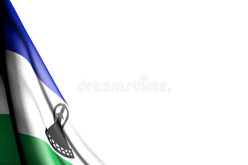 Ejemplo aislado maravilloso de la bandera de Lesotho que cuelga en la esquina - maqueta en blanco con el espacio para su texto -  stock de ilustración