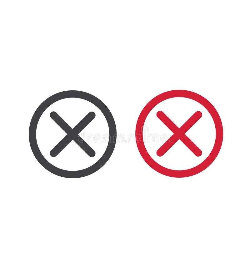 Ejemplo aislado marca de verificación cruzada del vector del símbolo del círculo del icono de X en un círculo ilustración del vector
