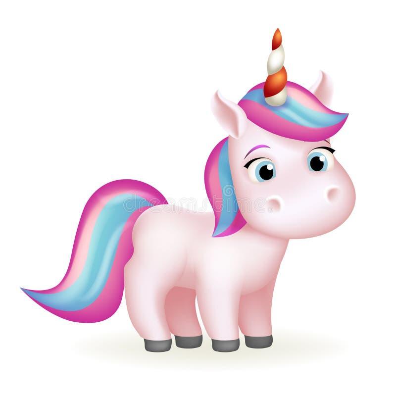 Ejemplo aislado muchacha hermosa linda animal mágica del vector del diseño 3d de la historieta del unicornio de Fairytail ilustración del vector
