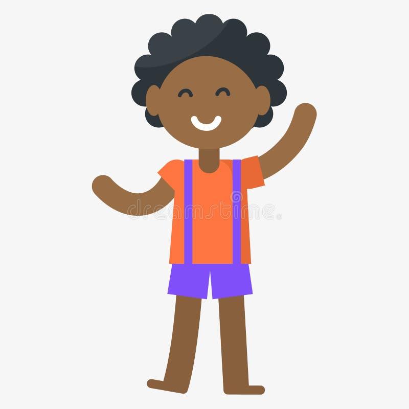 Ejemplo aislado muchacho sonriente del vector en blanco stock de ilustración