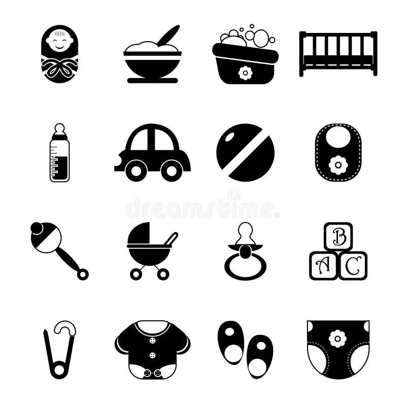 Ejemplo aislado niñez del vector del sistema de símbolos de los iconos de la silueta del bebé stock de ilustración
