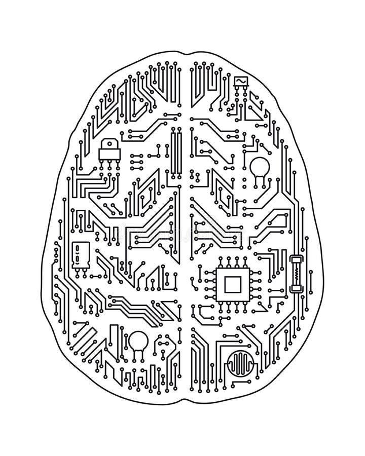 Ejemplo aislado placa madre del vector del cerebro humano libre illustration