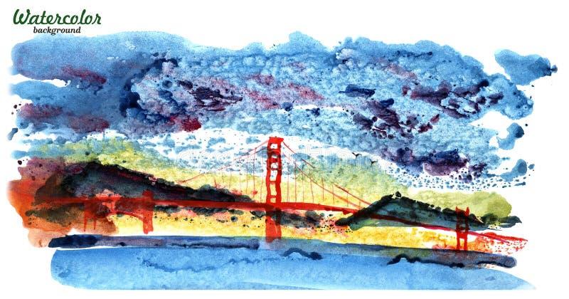 Ejemplo aislado puente Golden Gate San Francisco California United States de la acuarela de América ilustración del vector