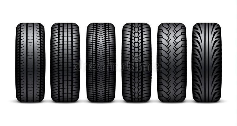 Ejemplo aislado rueda del neumático de coche Diseño realista del neumático del icono 3d del neumático del coche del deporte de go stock de ilustración
