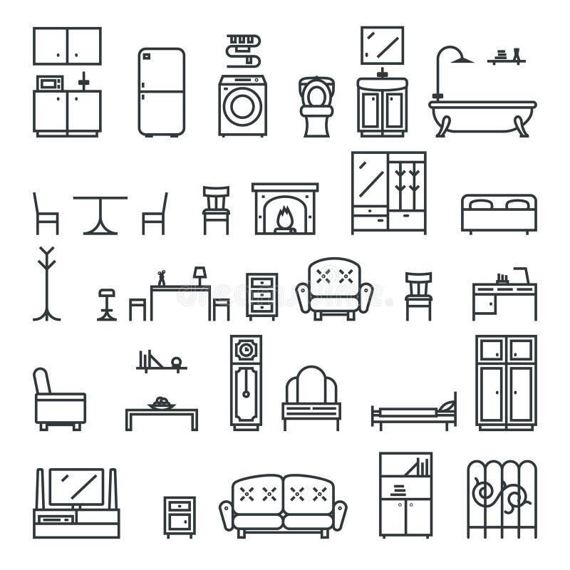 Ejemplo aislado sala de estar plano del vector de los iconos de los muebles de Lineart y del sistema de símbolos libre illustration
