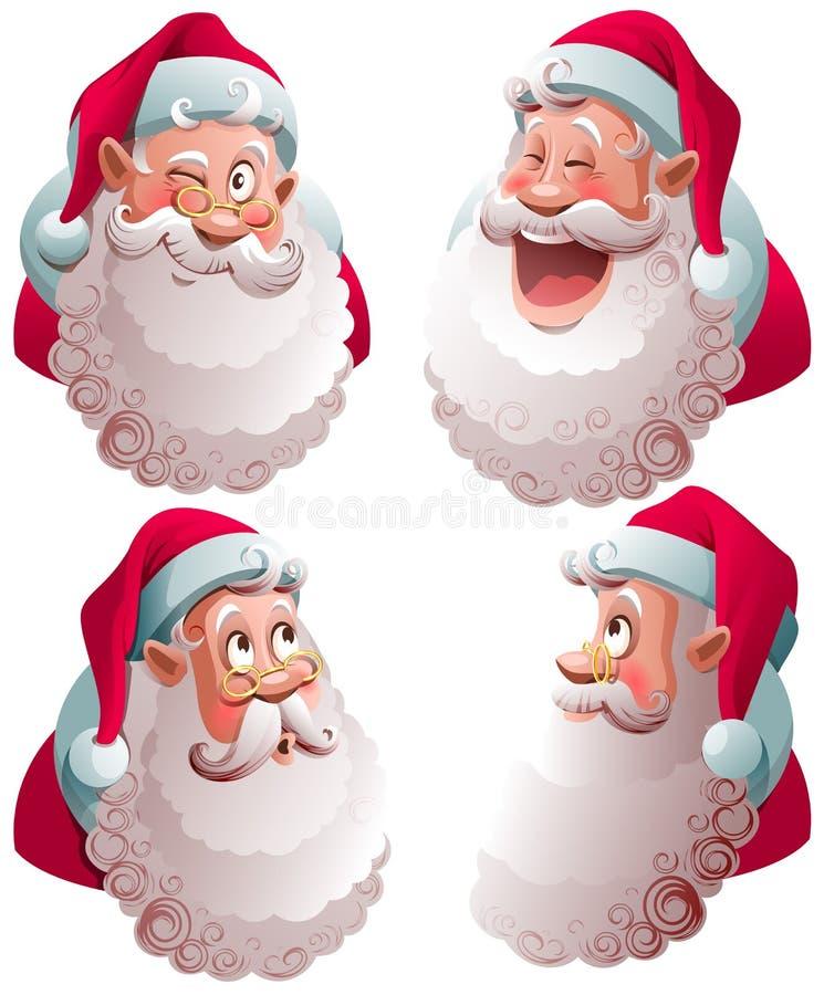 Ejemplo aislado sistema del vector de la cabeza de Santa Claus stock de ilustración