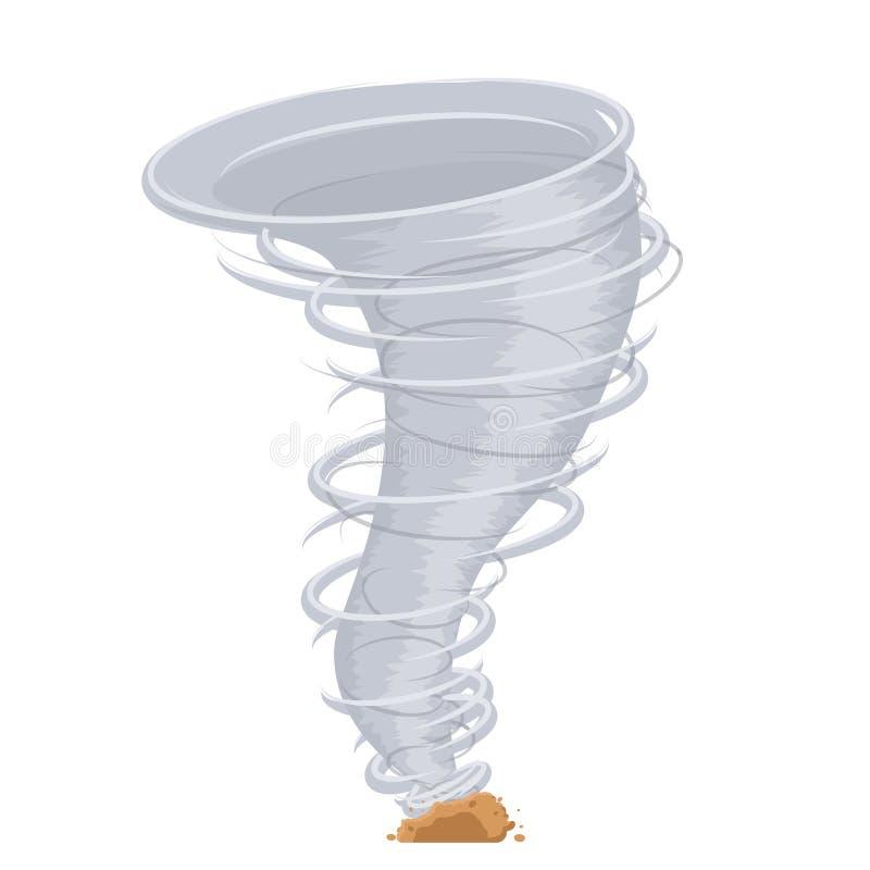 Ejemplo aislado torbellino destructivo del vector del diseño del icono del viento del tornado de la amenaza del clima de la histo stock de ilustración