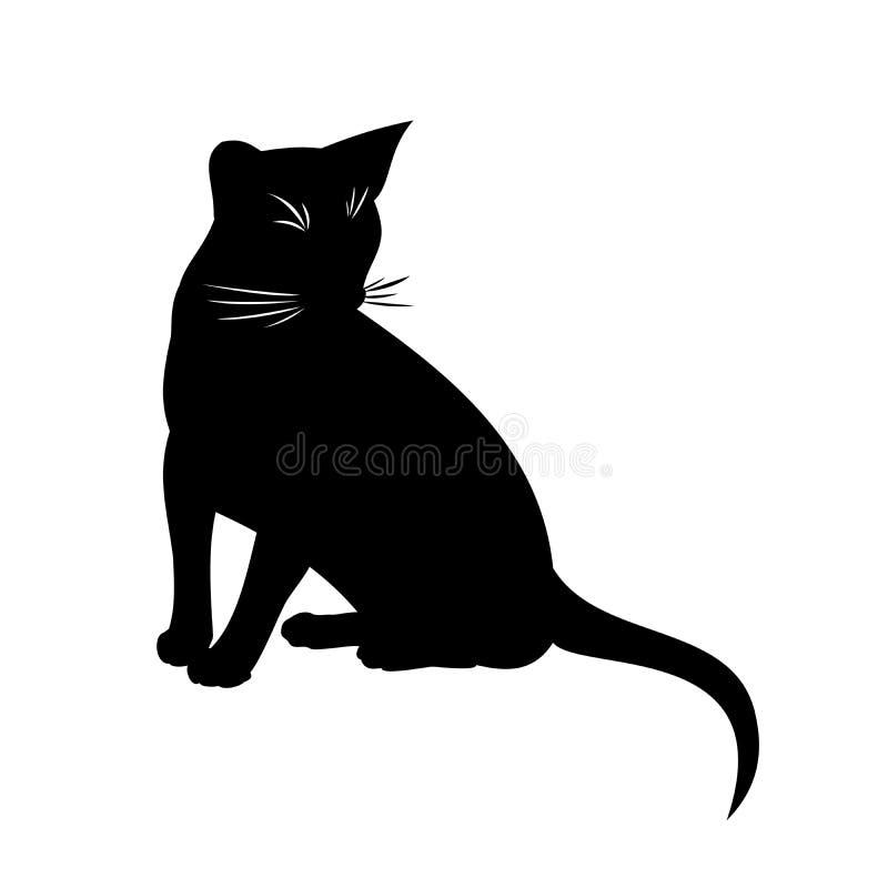 Ejemplo aislado vector abisinio del gato silueta blanco y negro de sentar el gato abisinio stock de ilustración