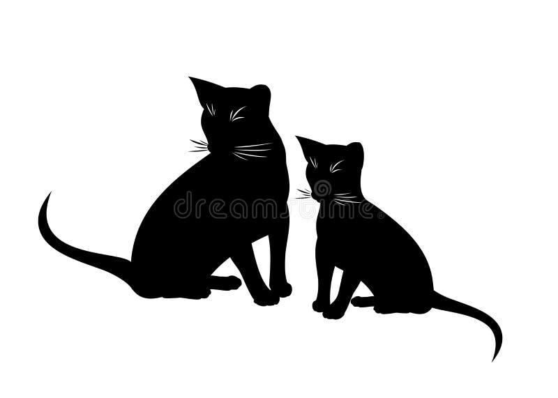 Ejemplo aislado vector abisinio del gato y del gatito Silueta blanco y negro de sentar gatos abisinios en blanco ilustración del vector