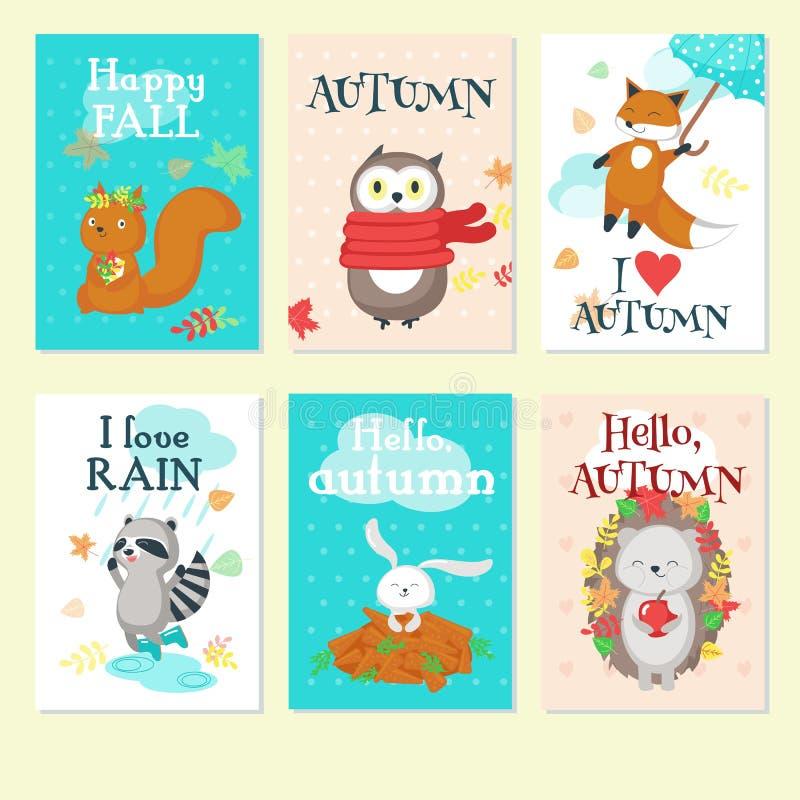 Ejemplo aislado vector animal del sistema de tarjeta del otoño stock de ilustración