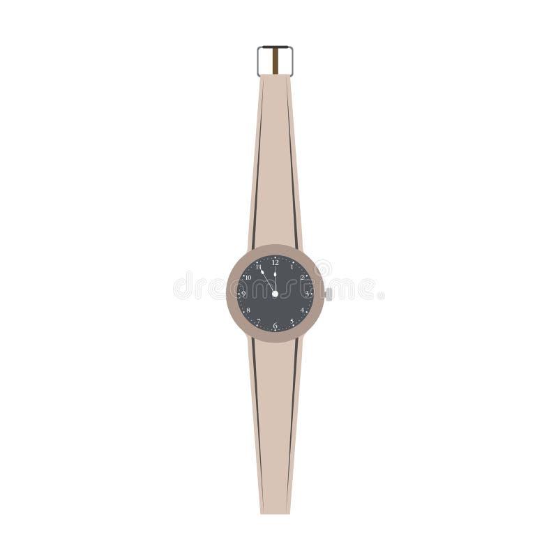 Ejemplo aislado vector de la mano de la muñeca del reloj Reloj del reloj de la moda del icono del diseño del tiempo stock de ilustración
