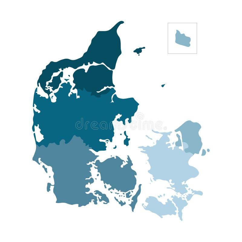 Ejemplo aislado vector del mapa administrativo simplificado de Dinamarca Siluetas azules coloridas stock de ilustración