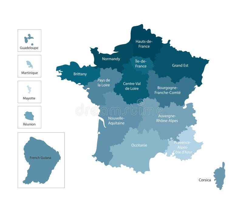 Ejemplo aislado vector del mapa administrativo simplificado de Francia Fronteras y nombres Siluetas azules coloridas stock de ilustración