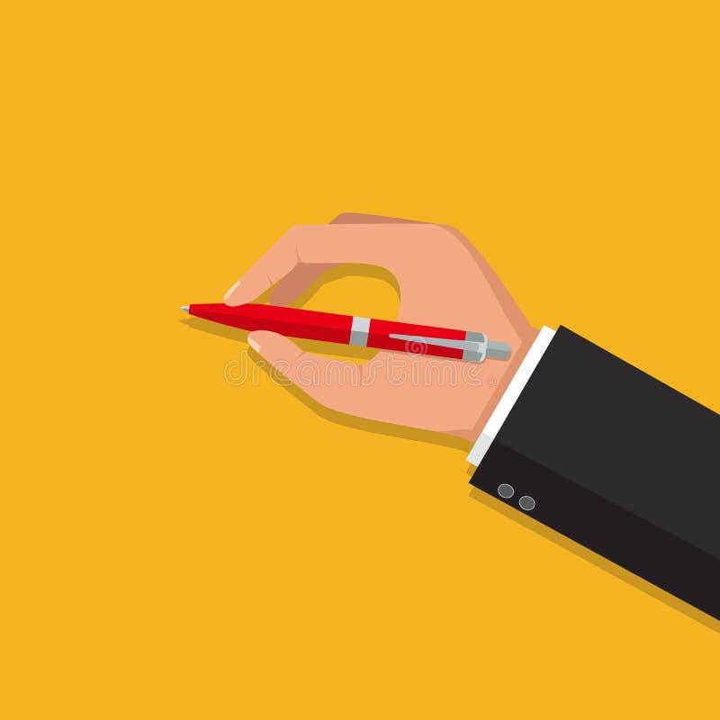Ejemplo aislado vector, diseño plano El hombre lleva a cabo una pluma y un w ilustración del vector