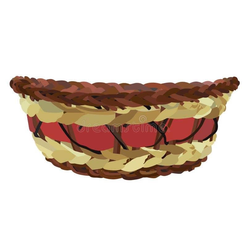 Ejemplo aislado vector vacío de la cesta de mimbre del color stock de ilustración