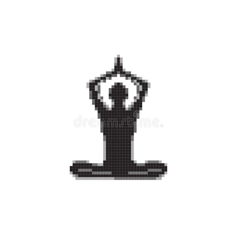 Ejemplo aislado yoga del arte del pixel stock de ilustración