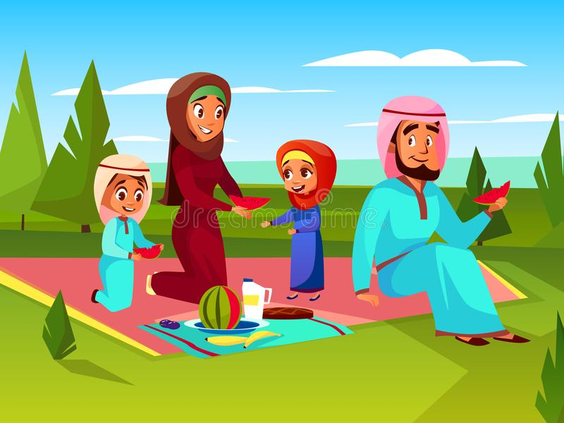 Ejemplo al aire libre del vector de la comida campestre de la familia árabe ilustración del vector