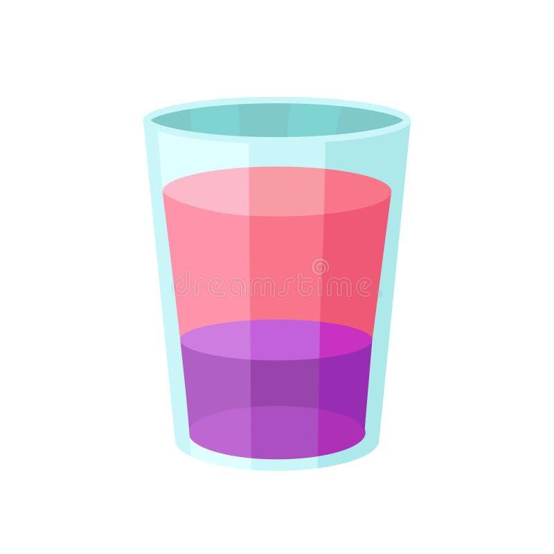 Ejemplo alcohólico rosado y púrpura acodado del vector de la historieta del cóctel ilustración del vector