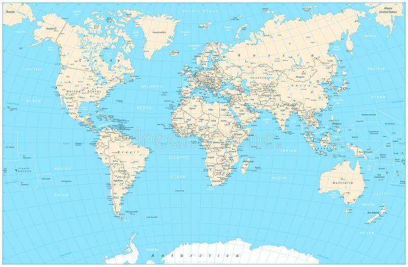 Ejemplo altamente detallado del vector del mapa del mundo stock de ilustración