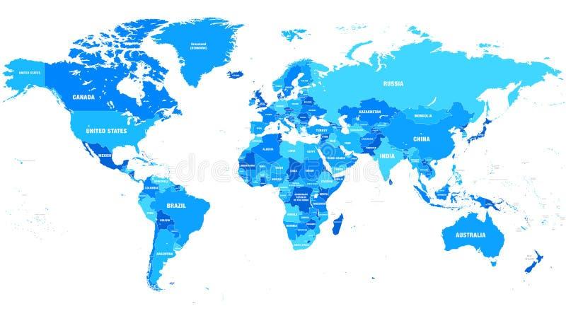 Ejemplo altamente detallado del vector del mapa del mundo libre illustration