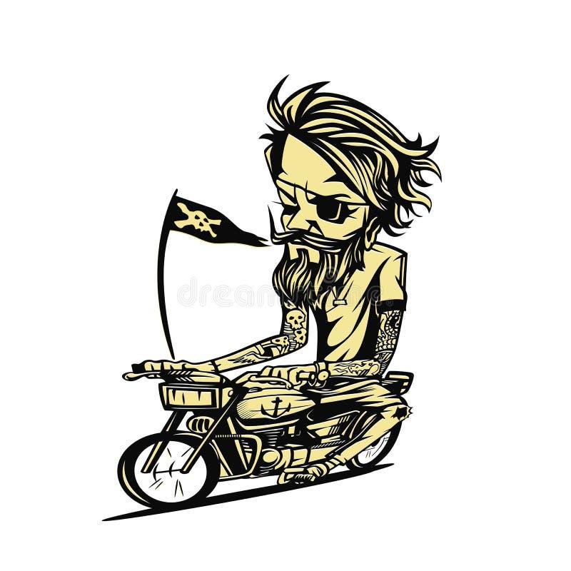 Ejemplo amarillento del vector del jinete de la bici stock de ilustración