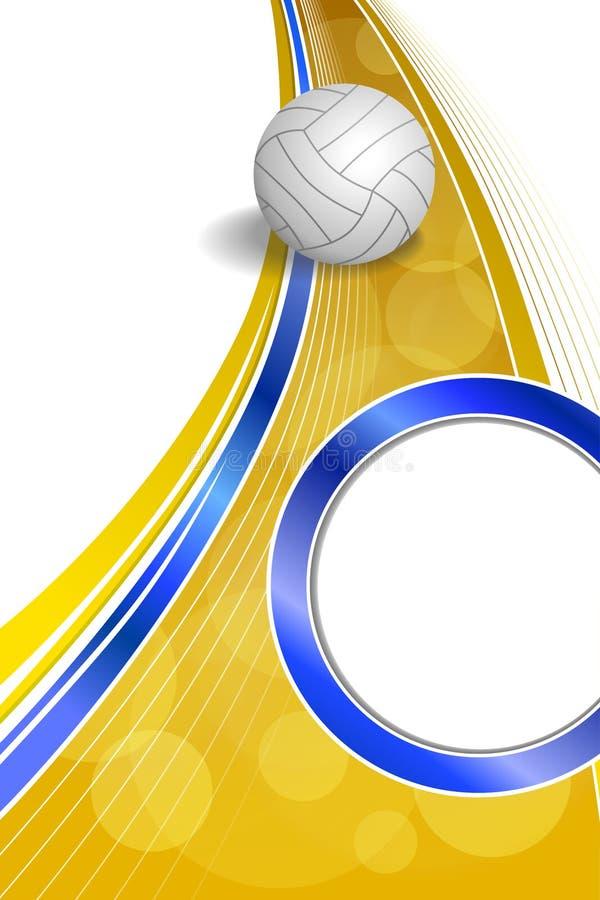 Ejemplo amarillo azul de la vertical del marco del círculo de la bola del voleibol abstracto del deporte del fondo libre illustration