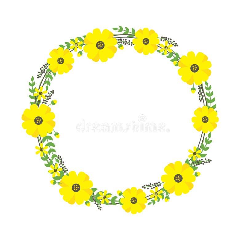 Ejemplo amarillo del vector del marco de la flor conveniente para el diseño de la plantilla del verano libre illustration