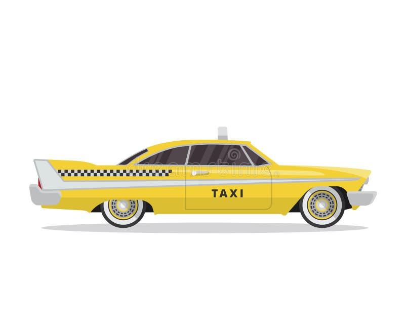 Ejemplo amarillo urbano moderno del vehículo del taxi en fondo blanco aislado stock de ilustración