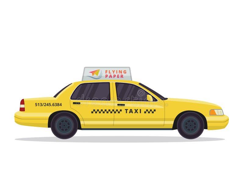 Ejemplo amarillo urbano moderno del vehículo del taxi en fondo blanco aislado ilustración del vector