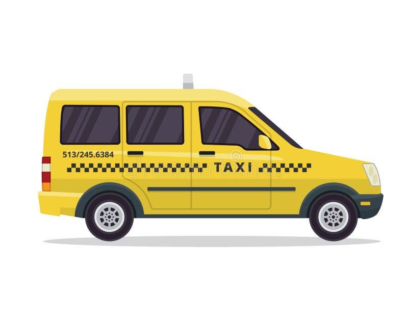 Ejemplo amarillo urbano moderno del vehículo del taxi en fondo blanco aislado libre illustration