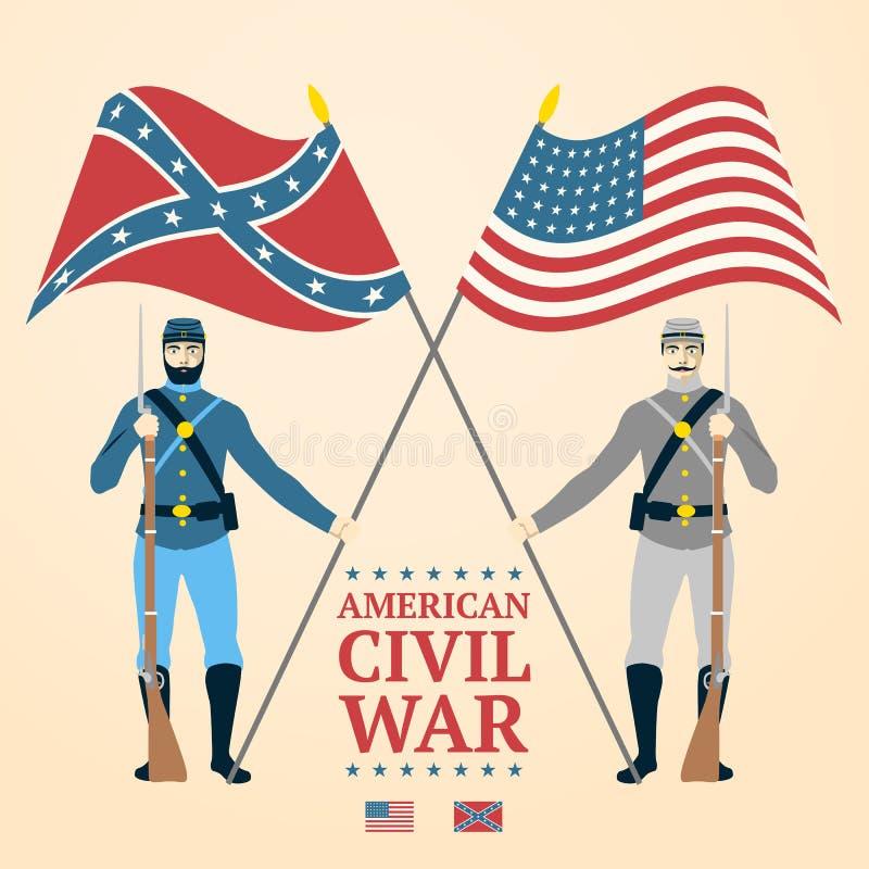 Ejemplo americano de la guerra civil - meridional y libre illustration