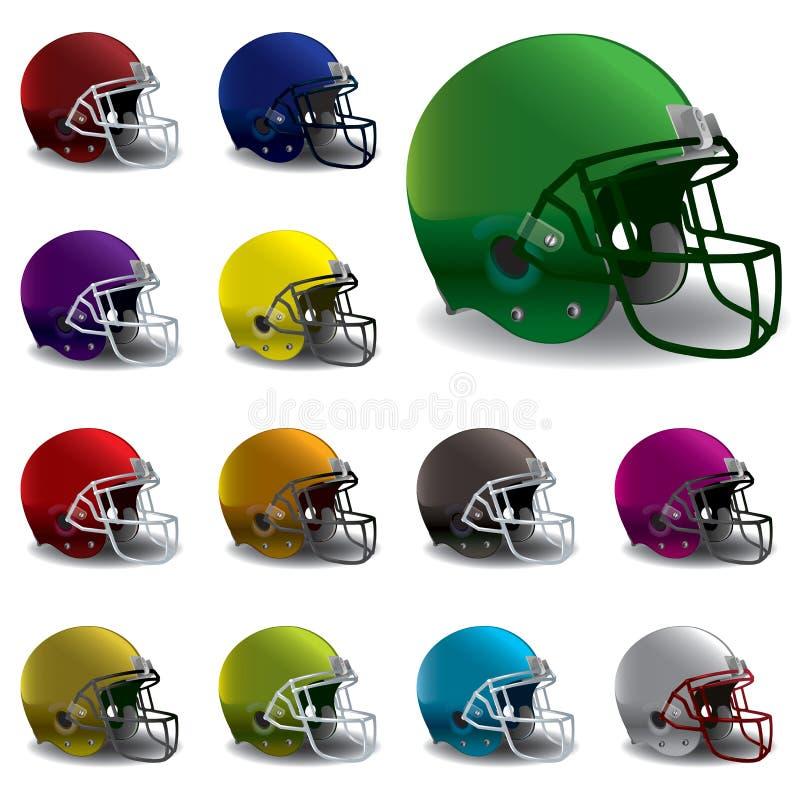 Ejemplo americano de los cascos de fútbol americano stock de ilustración