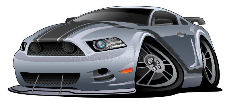 Ejemplo americano moderno del vector de la historieta del coche del músculo ilustración del vector
