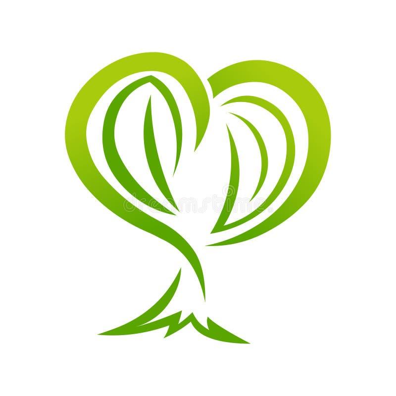 Ejemplo amistoso del eco del árbol del corazón Insignia abstracta del árbol stock de ilustración
