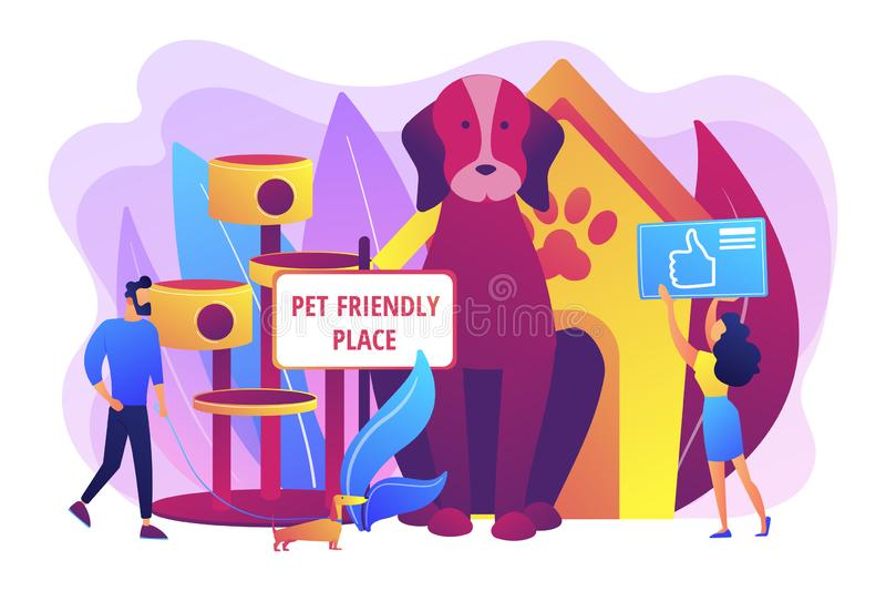 Ejemplo amistoso del vector del concepto del lugar del animal doméstico ilustración del vector