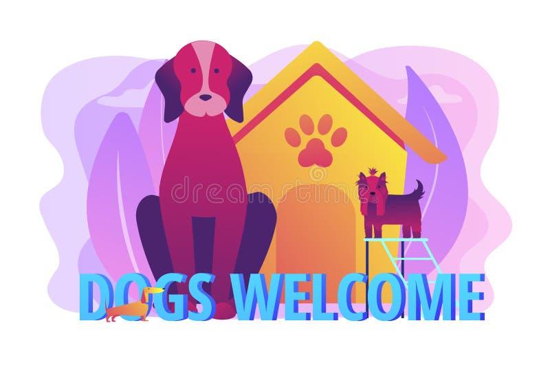 Ejemplo amistoso del vector del concepto del lugar de los perros stock de ilustración