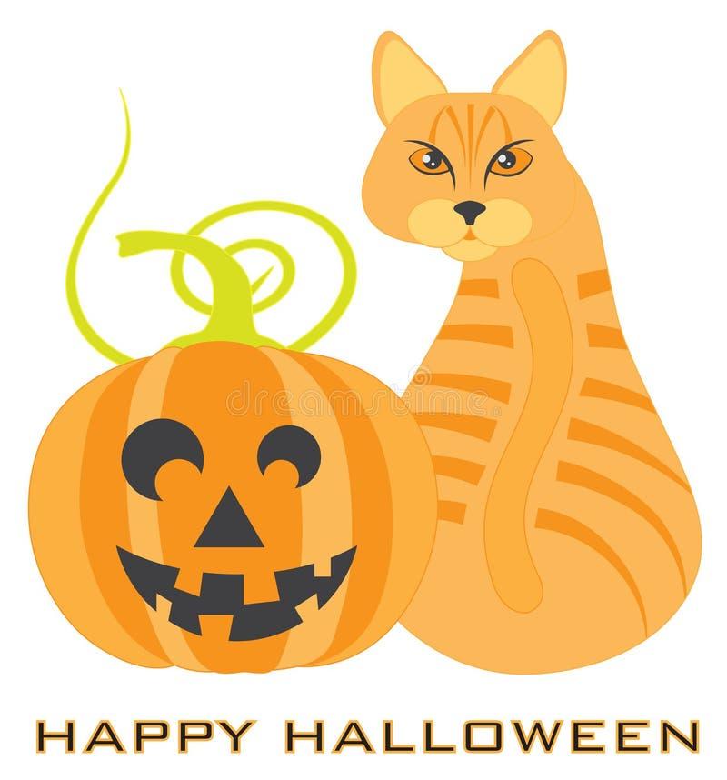 Ejemplo anaranjado del vector de Halloween Tabby Cat Pumpkin ilustración del vector