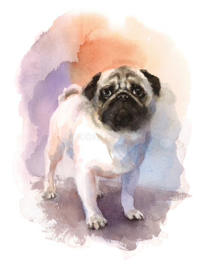 Ejemplo animal de la raza del perro de la acuarela del barro amasado pintado a mano stock de ilustración