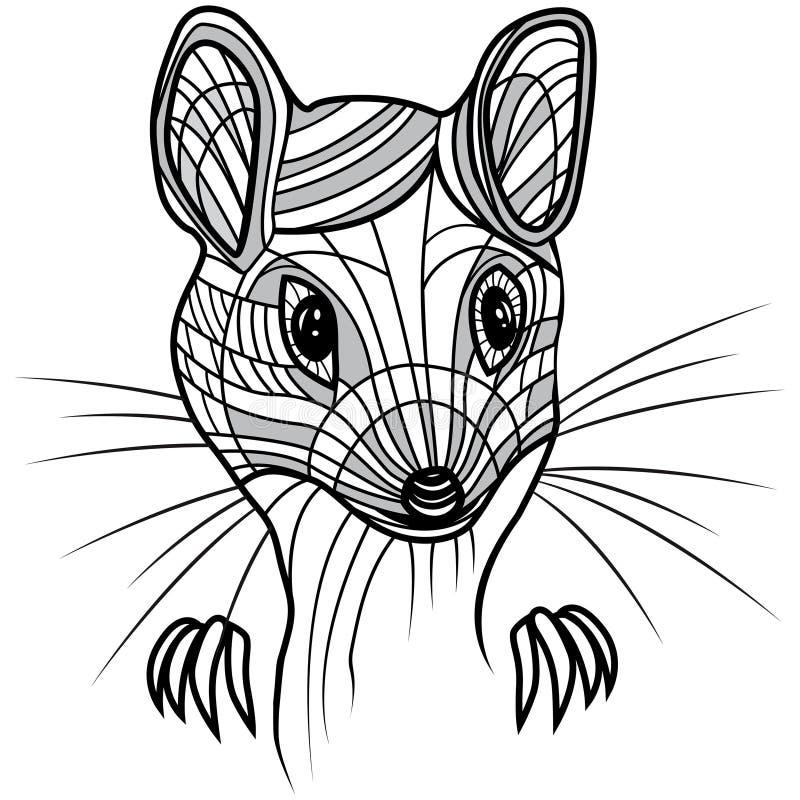 Ejemplo animal del vector principal de la rata o del ratón para la camiseta ilustración del vector