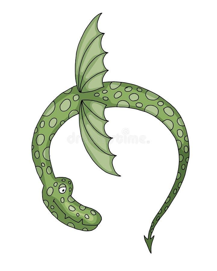 Ejemplo animal del wyvern del dragón de vuelo, mítico y fantástico del vector de la historieta ilustración del vector
