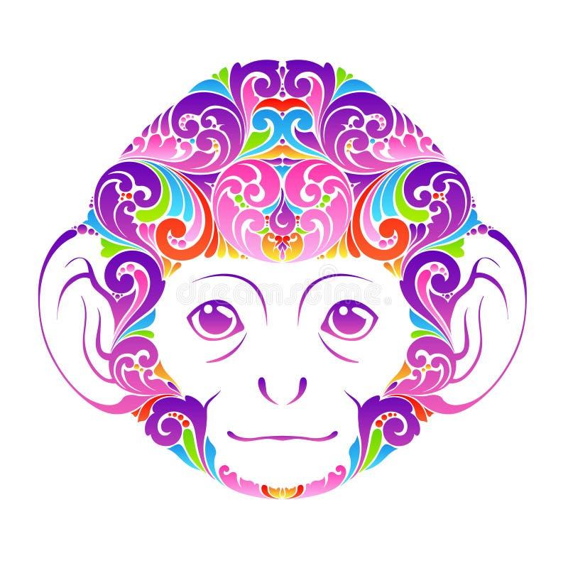 Ejemplo animal divertido decorativo del vector del elemento del diseño del icono del símbolo de la cara del mono adornado colorid ilustración del vector